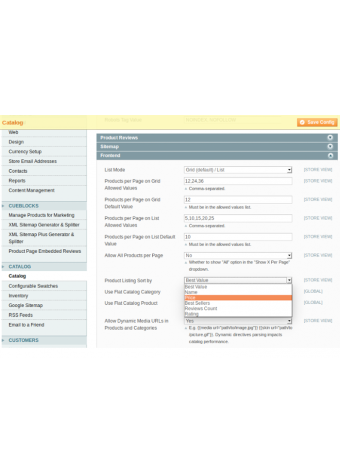 Extended category product sorter settings in Magento