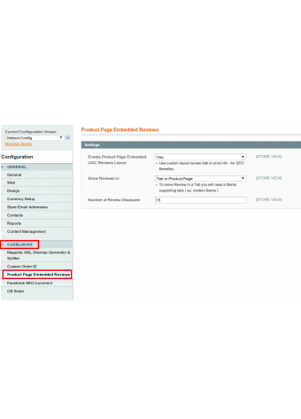 Settings in Magento