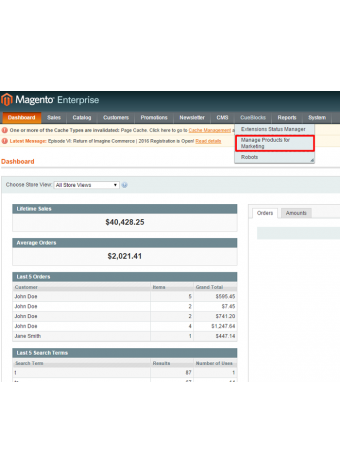 Manage Products for Marketing Settings in Magento