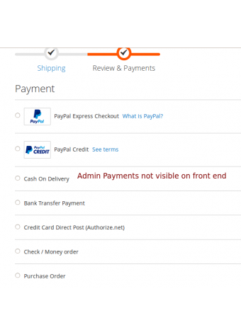Admin Payments Configuration Front-end