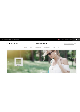 Black & White Theme Homepage Example